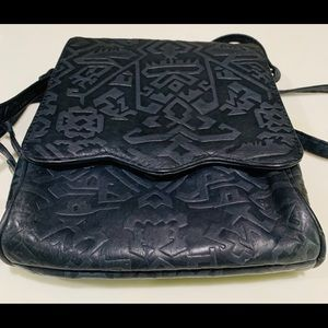 Beautiful Aztec embossed leather crossover purse